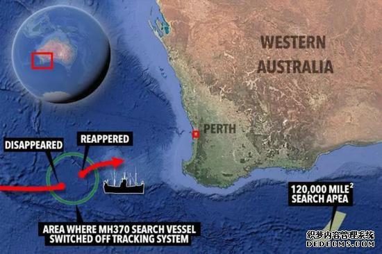 图为MH370搜索船消失的位置。(图片来源:英国《太阳报》)