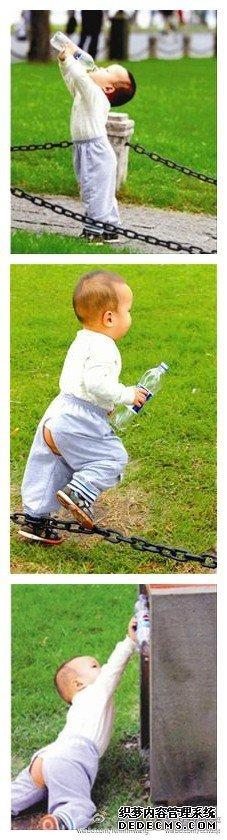 2岁幼童为扔饮料瓶摔跤 仍坚持将垃圾放入桶中