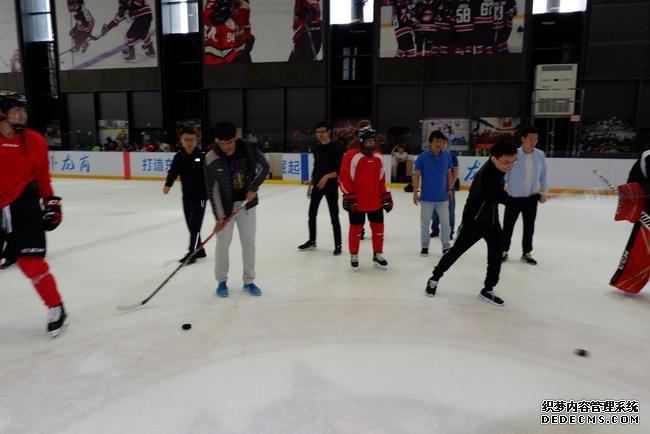 余泱漪与哈里克利斯纳体验冰球运动