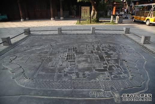 青州古城城区地形图石雕